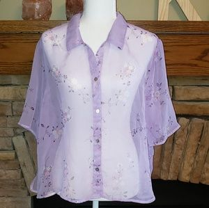 NWOT Style Studio Sheer Floral Blouse Top 1X
